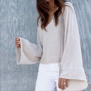 Free People Starman V Neck Bell Sleeve Sweater XS